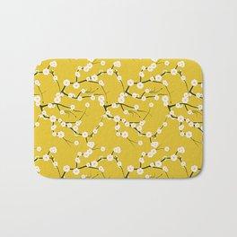 Cream Cherry Blossom Branches on Gold Bath Mat
