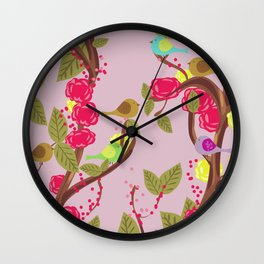 Vintage Birds and flowers Wall Clock