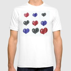 My hearts MEDIUM White Mens Fitted Tee