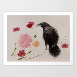 Crow Bouquet Art Print