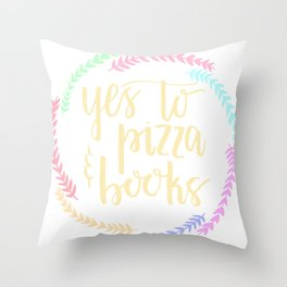 Pizza and Books (lighter version) Throw Pillow