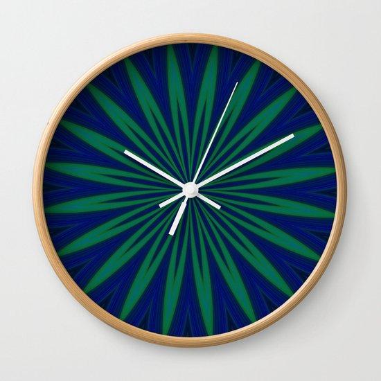 Wall Clock Floral Design : Blue flower geometric design wall clock by steeleart
