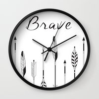 brave Wall Clocks featuring Brave by Mind Design