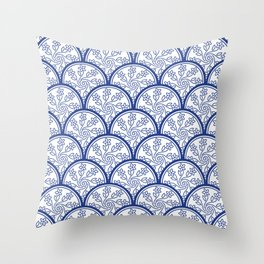 Blue and White Chinoiserie Floral Pattern Stacked Circle Scales Shapes Throw Pillow