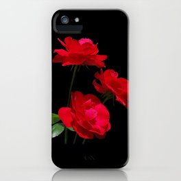 Red roses on black background iPhone Case