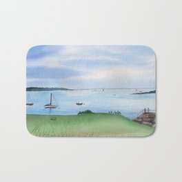 View from Fort McClary in Maine Watercolor Painting Bath Mat