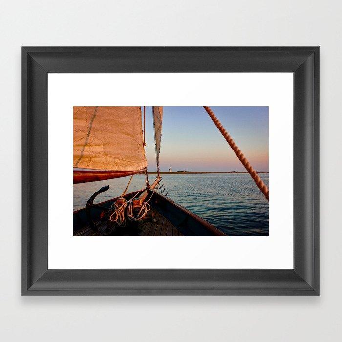 Sailing Towards Lighthouse at Sunset Framed Art Print