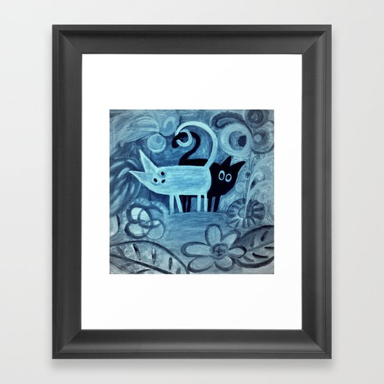 cats in blue Framed Art Print