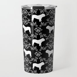 English Bulldog silhouette florals black and white minimal dog breed pattern print gifts bulldogs Travel Mug