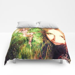 Fairy feather wood nymph ladykashmir painting , Art Print by ladykashmir Comforters