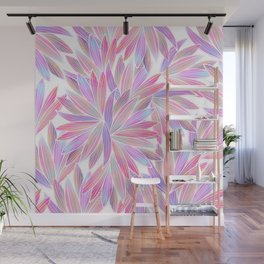Trendy girly pink lavender coral watercolor floral Wall Mural