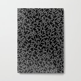 Contemporary Street Art Keith Haring Pattern Figures White Metal Print