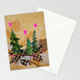 Abstract Christmas Trees with Neon Pink Stars Stationery Cards