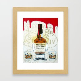 Bourbon Makers Mark cartoon illustration original painting print Framed Art Print