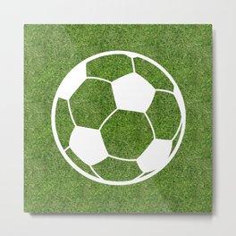 Soccer (Football) ball symbol on the grass Metal Print