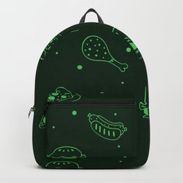 Fast Food Snacks Attack - Pizza Pie Hot Dogs Chicken Wings! on Green Backpack