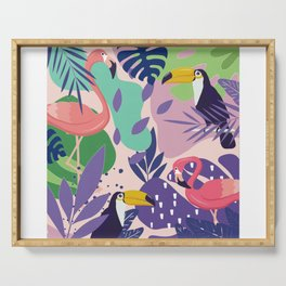 Tropical Jungle With Flamingos And Toucans Memphis Style Serving Tray