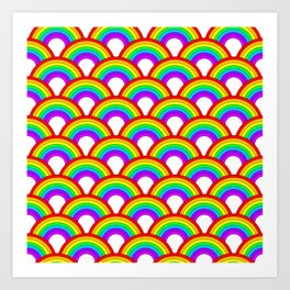 Repeating rainbows Art Print