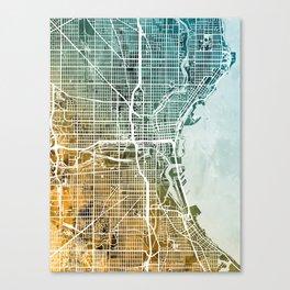 Milwaukee Wisconsin City Map Canvas Print