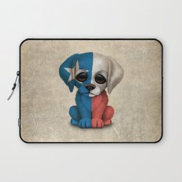 Cute Puppy Dog with flag of Texas Laptop Sleeve