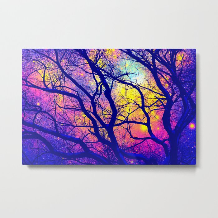 Black Trees Deep Bright & Colorful Space Metal Print