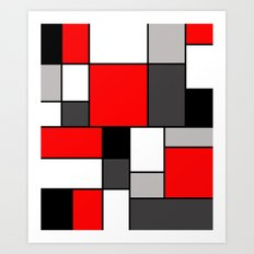 Red Black and Grey squares Art Print