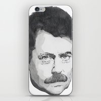 ron swanson iPhone & iPod Skins featuring Ron Swanson by Lina