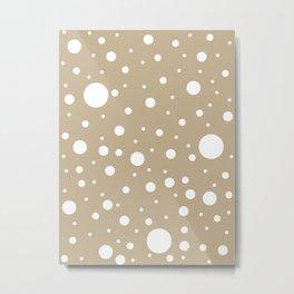 Mixed Polka Dots - White on Khaki Brown Metal Print
