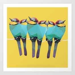 Low Poly Bee-eaters - Birds Art Print