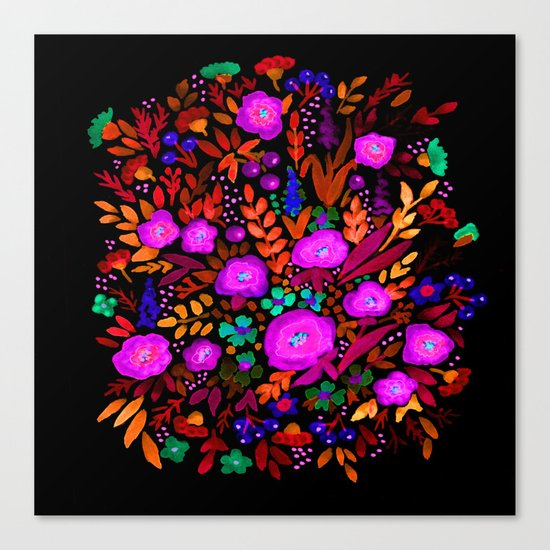 Watercolor colorful flower pattern on a black background . Canvas Print