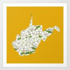 West Virginia in Flowers Art Print