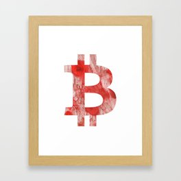 Bitcoin Red Pink streaked wash drawing Framed Art Print