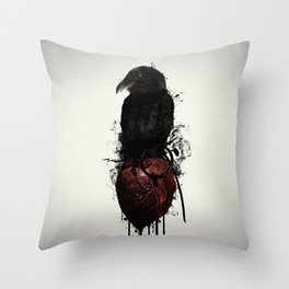 Raven and Heart Grenade Throw Pillow