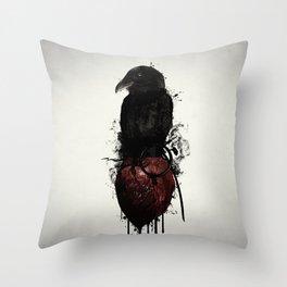 Raven and Heart Grenade Throw Pillow