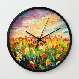 Tulip field paiting Wall Clock
