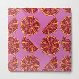 Grapefruit Love Pattern Metal Print