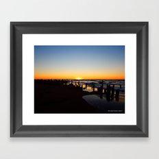 Wharf Beach Sunset Framed Art Print
