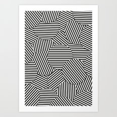 Striped Disc Pattern - Black and White Art Print