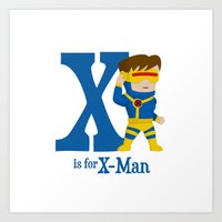 x men Art Prints featuring X is for X-Men by Malcolm Fisher