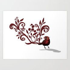 Swirly Bird Art Print
