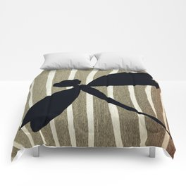 Vintage Zebra Stripe Dragonfly Silhouette Comforters