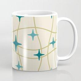 Mid Century Modern Cosmic Star Pattern 693 Cream Turquoise Olive Coffee Mug