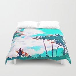 Lanikai Coconut Trees Duvet Cover