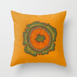 Growing -Taxus - embroidery based on plant cell under the microscope Throw Pillow