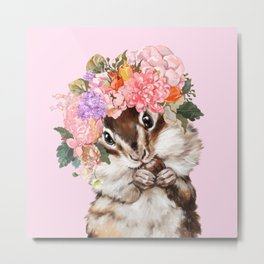 Baby Squirrel with Flowers Crown in Pink Metal Print