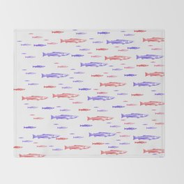 Red and Blue Fish Pattern Throw Blanket