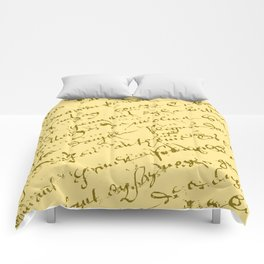 French Script on Yellow Comforters