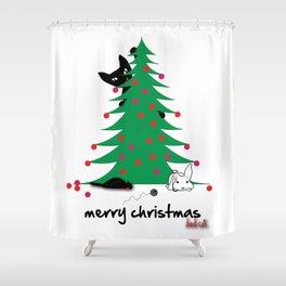 Bad Cat Christmas wish Shower Curtain