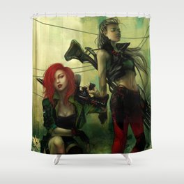Hot pepper - Sci-fi soldier girls with weapons Shower Curtain