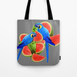 TWO BLUE MACAWS IN WATERMELON ABSTRACT GREY ART Tote Bag
